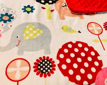 Minky Blanket Elephant Print Minky with Red Dimple Dot Minky Backing - Perfect Size a Toddler or Child 36 x 42