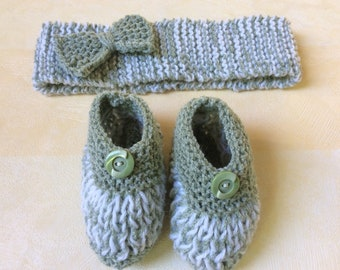 Headband and booties girl 3 month green and white