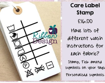 Large (10cm x 6cm) Personalised, 'Care Label' Custom Made Polymer Stamp, Mounted on Clear Acrylic Block, Small Business, Logo Stamp