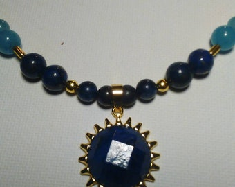 Golden Sun Lapis Lazuli Crystal Necklace with Lapis Lazuli, Sponge Quartz & Purple Banded Agate Beads with Dyed Howlite Crosses