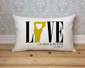 Vermont Love Pillow, Love Pillow, Wedding Pillow, Anniversary Pillow, Personalized Pillow, State Pillow, Vermont