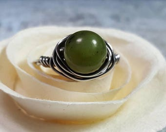 Ring Sterling Silver Wire Wrapped Green Canadian Jade  #1387
