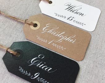 Hand written Calligraphy Place cards/Name tags for Rustic wedding or events