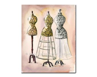 Leopard, Lace and Jaquard Vintage Dress Form illustration 8x10 Print