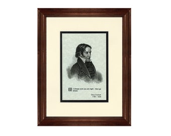 Print and Quotation of Davy Crockett with Mat and Frame