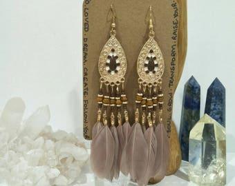 Hazel & Gold Feather Chandelier Earrings / Boho