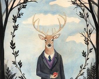 Custom Pet Portrait - Old fashion Gentleman, Victorian Sporty type, Elegant Dame, Dark trees, Art Illustration, Watercolor Painting