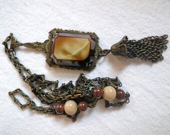 Lavalier Necklace Art Nouveau Vintage 70s *