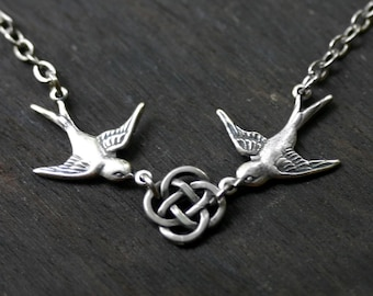 Celtic Knot and Swallows Necklace