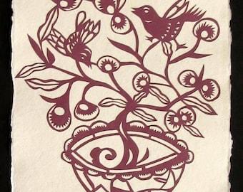 FLOWER POT Papercut - Hand-Cut Silhouette