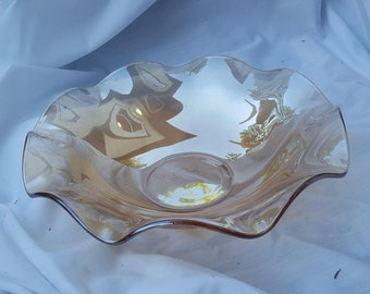 Vintage Jeannette Glass Floragold Louisa Iridescent Ruffled Centerpiece Bowl