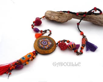 Large medallion, Gypsy spirit polymer necklace