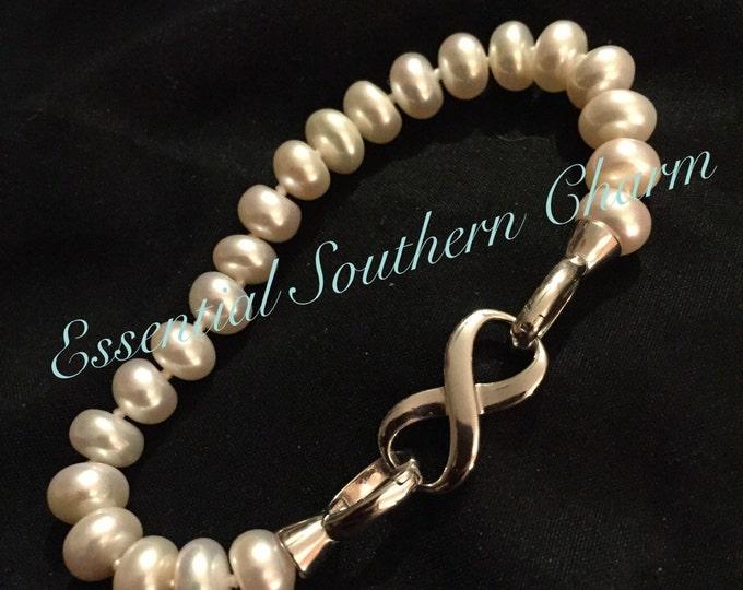 "Freshwater Pearl Sterling Silver Bracelet 7"""