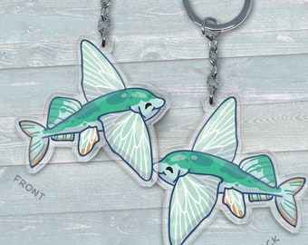 Sailfish Flying Fish - Acrylic Phone Charm / Keychain / Necklace
