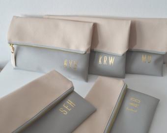 Set of 5 Monogram Clutches / Bridesmaids Gift / Gold Initials Imprinted Clutch Purses