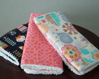 Baby Girl Burp Cloths - Cute Fox and Owl - Woodland Nursery - Navy and Pink - Cute Baby Burp Cloths