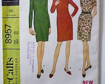 Vintage Sewing Pattern Women's 60's Uncut, McCall's 8957, Dress, Knee Length, Three Versions (XS)