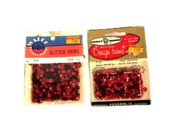 2 Boxes of Red Vintage Sequins