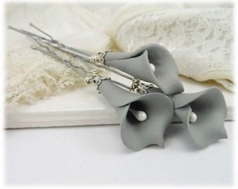 Gray Calla Lily Hair Pins - Gray Calla Lilies, Gray Flower Hair Pins Wedding, Gray Bridal Hair Flowers