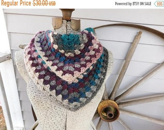 The Teaberry Triangle Scarf. Handmade Crochet Granny Stitched Double Chevron draped Bib Boho scarf with ties