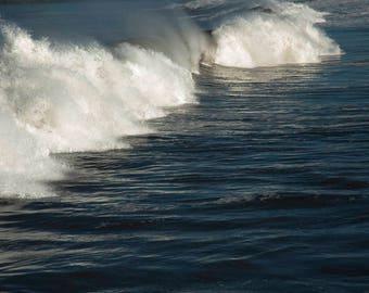 Coastal art - Whoosh! - California - Surfs Up - Pacific Ocean - Beach Decor - Nature - Fine art photo - Waterscape -  Blue, Teal, White