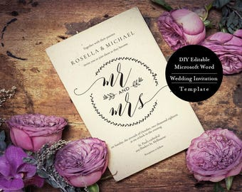 Kraft Wedding Invitation, Wedding Invite Template, Rustic Invitation Set, Invitation Printable, Wedding Invitation, Instant Download, MSW154
