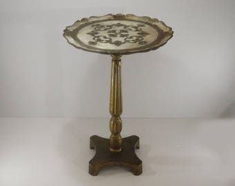 Vintage Florentine Italian Side Table Gold Gilded End Table, Signed Made in Italy