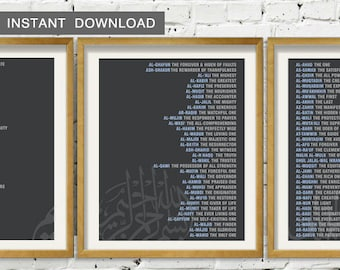 Instant Download. 99 Names of Allah in english with translation & arabic calligraphy, Modern Wall Art Print, Gray Blue - Set of 3
