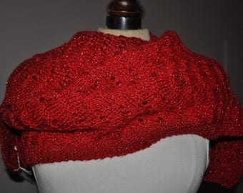 Red scarf and red glitter yarn