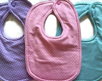 Baby Bib Set - Girl Bibs - Baby Girl Gift Set - Toddler Bib - Drool Bib - Polka Dot Bibs - Cotton Bib - Dribble Bib - Pastel Bibs - Snap Bib