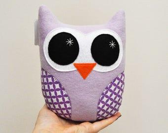 Lavendar Purple Plush Owl With Geometric Print Wings - READY TO SHIP