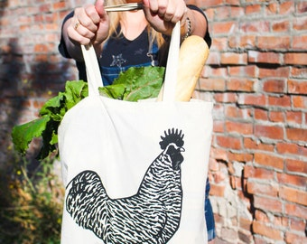 Chicken Tote Bag, Hand Printed Tote