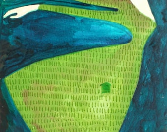 Flying Girl Remembers Nights of Grass and Sky, or Markings OOAK original acrylic painting by Rowena Murillo