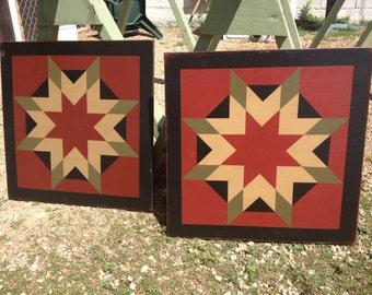 PriMiTiVe Hand-Painted Barn Quilt, Thick Frame 2' x 2' - Harvest Star (Cinder Version)