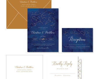 Wedding Invitation Suite Sample - Constellation
