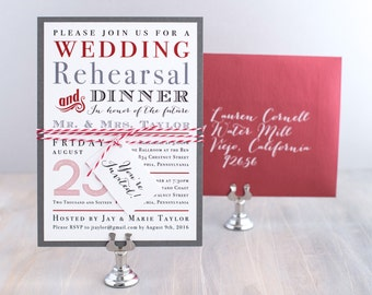 Red Wedding Rehearsal Invitations, Modern Wedding Rehearsal Invites with Crimson - 9 Colors To Choose From, Only 3.00/each - Deposit