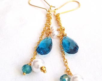 Gold Plated Blue Crystal Drop Earrings