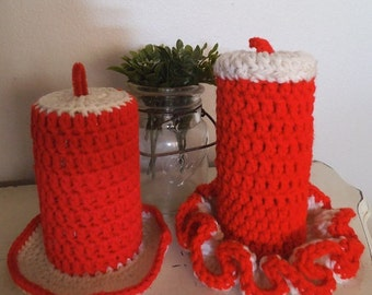 Vintage Crochet Christmas Candle set ~ Red and White ~ Handmade