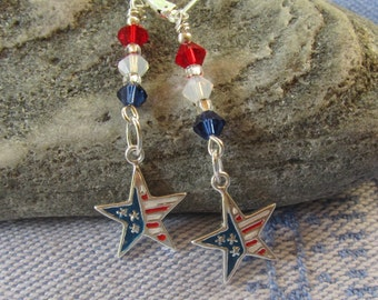 Fourth of July Earrings, Longer Earrings w Star and Swarovski Crystals in Red, White n Blue, Fourth of July Earrings on Sterling Lever Backs