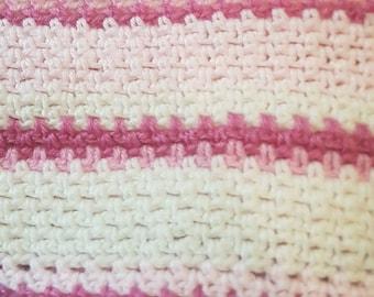 Pink stripe cot blanket