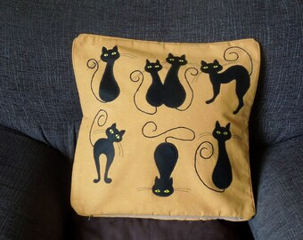 "Black Cats pillow, cushion cover ""Black Cats"" handmade, applique, pet, animal"