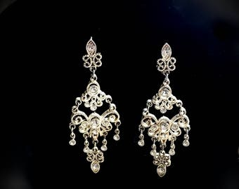 Crystal earrings evening bridal dangle drop  sterling fashion jewelry