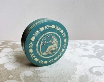 Vintage Embossed Tin Wedgewood Blue With Goddess by Baret Ware England, Small Round Neoclassical Greek Key Roman