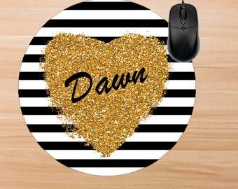 Stripe Mouse Pad. Personalized Mouse Pad. Monogram Mouse Pad. Personalized Office Gifts. Teacher Gifts. Promotional Items.