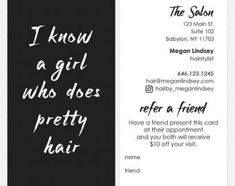 Salon referral cards etsy hairstylist or hair salon referral cards color both sides free ups ground shipping reheart Images