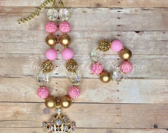 Pink and Gold Chunky Necklace, Baby Necklace, Toddler Tiara Chunky Necklace, Princess Chunky Necklace, Pink and Gold,  Pink and Gold