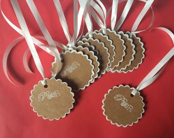 Set of 10 border Brown kraft cardstock gift tags and white pad