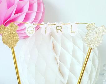 Mini Garland cake - cake topper - babyshower-rose-gold-Girl-with babygros