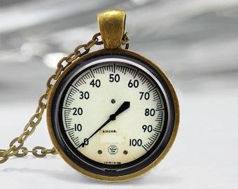 Vintage Gauge Pendant, Gauge Art Pendant,  Photo Jewelry, Gift Pendant, Antique Gauge Art Pendant, Bronze Silver, Vintage Gauge Photo 1244