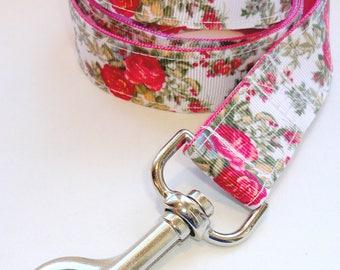 "Pretty Petals Pink - Spring Into Bloom Series - 1"" Wide Leash, 3', 4' , 5', 6' or Adjustable"